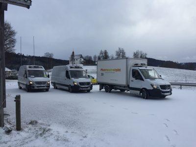 Vans in snow